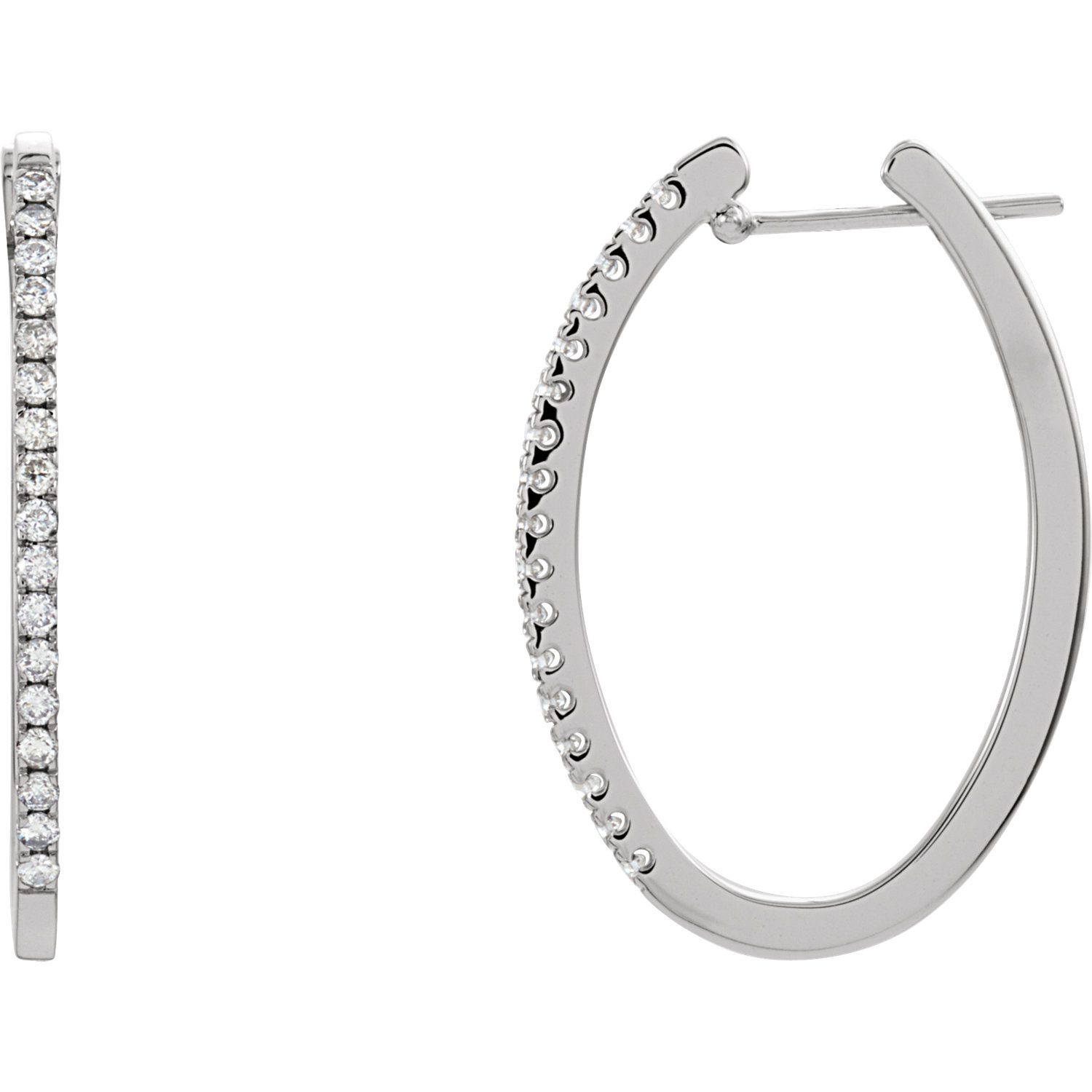 14K White 1 2 CTW Diamond Hoop Earrings The Jewelry Shop