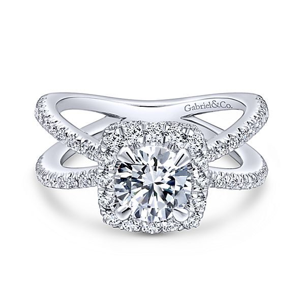 Delphinia 14k White Gold Round Halo Diamond Engagement Ring The Jewelry Shop